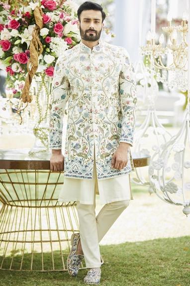 Embroidered sherwani with pants & kurta