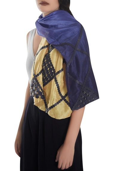 Leather detail stole