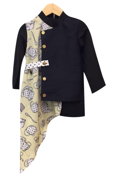 Cupcake print asymmetric draped nehru jacket
