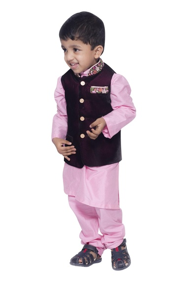 Embroidered nehru jacket with kurta set