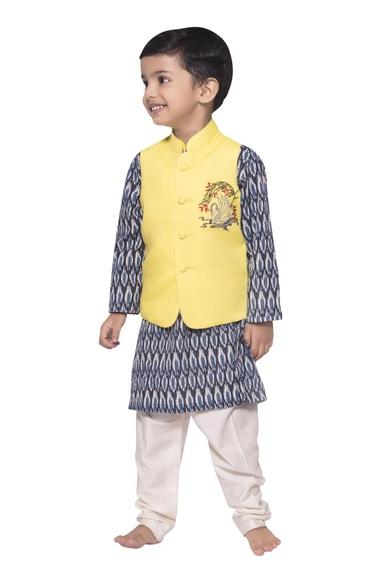 Swan embroidered nehru jacket with ikat kurta and churidar