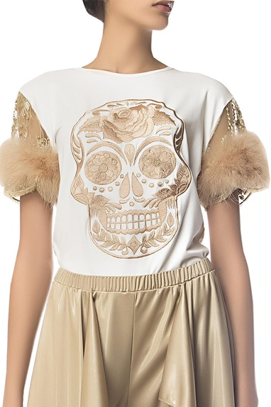 Thread embroidered skull top with faux fur sleeves