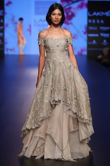 Sequin embroidered layered gown