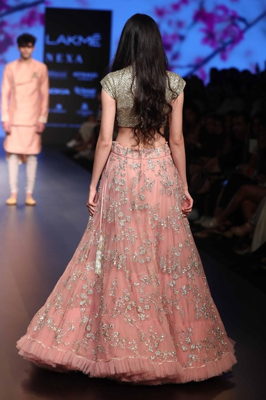 Sequin embroidered lehenga with short blouse