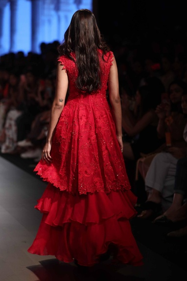 Embroidered gown with layered slip