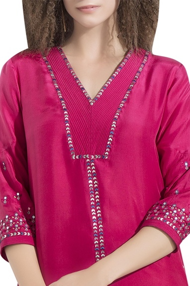 Embellished high low tunic