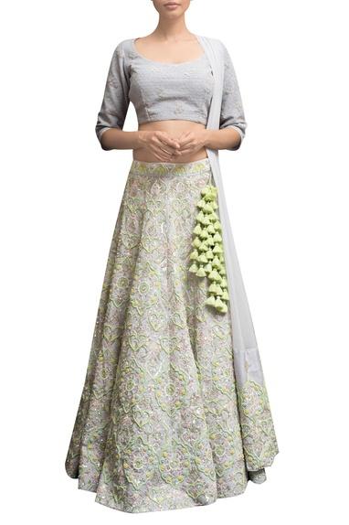 Embellished blouse with lehenga & dupatta