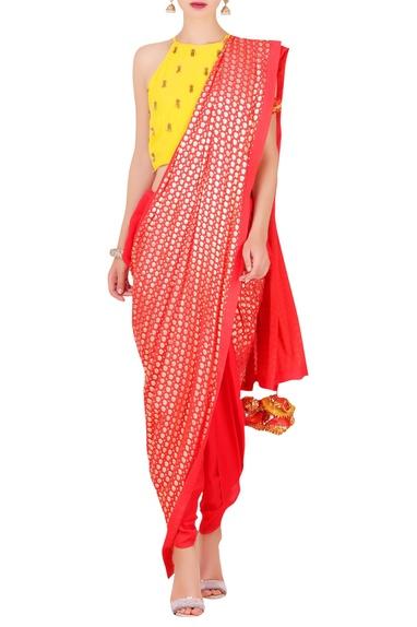 Foil print dhoti sari with crop top