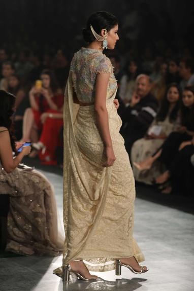 Chikan embroidered sari