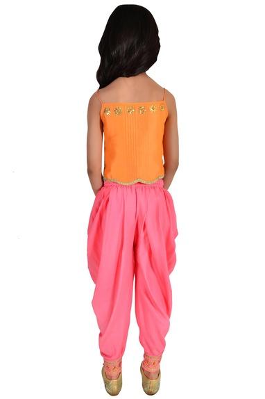 Orange & coral chanderi floral embroidery suit