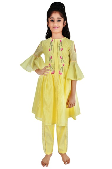 Soft yellow chanderi floral embroidery suit