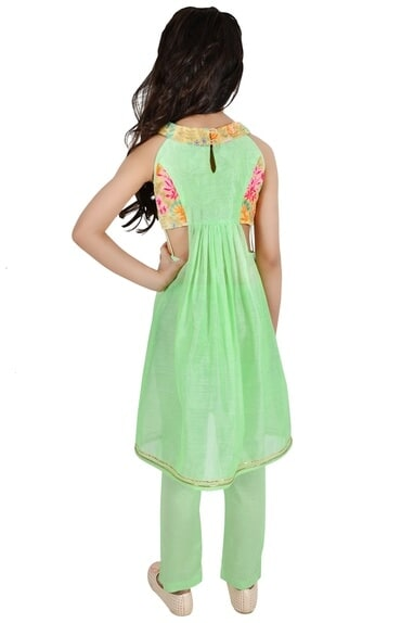 Sea green chanderi floral embroidery suit