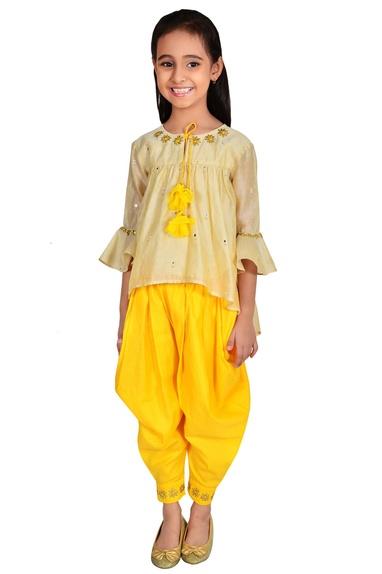 Gold, beige & bright yellow chanderi gota pati and mirror work suit
