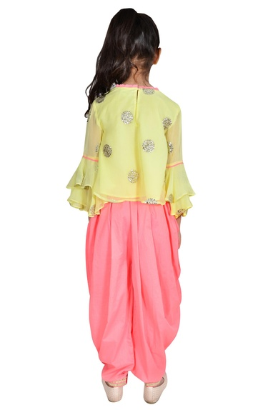Lime yellow & coral georgette sequin polka dots suit