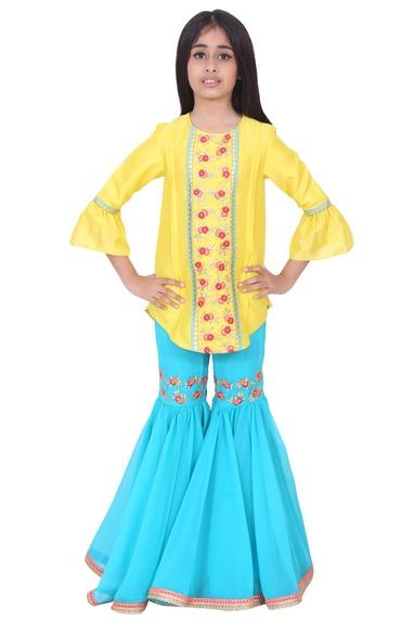 Yellow & turquoise silk thread and gota embroidery sharara set