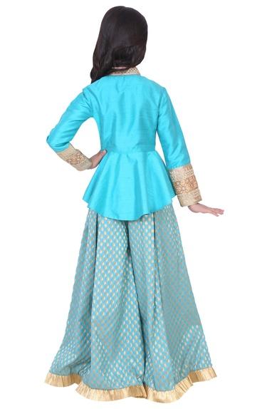 Turquoise dupion, banarasi silk & artificial silk peplum sharara set