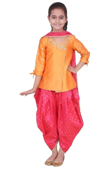Orange & fuschia tafetta, banarasi silk & artificial silk gota patti kurta with salwar pants