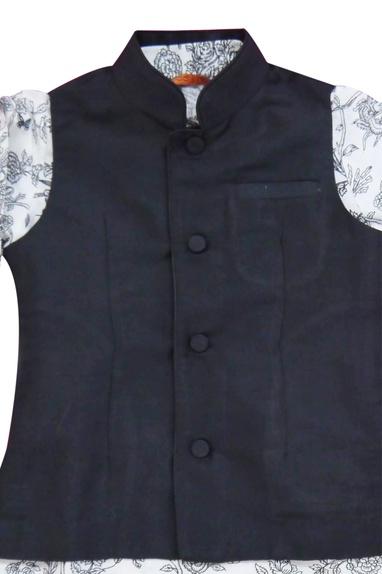 White printed kurta with jacket wtih pants