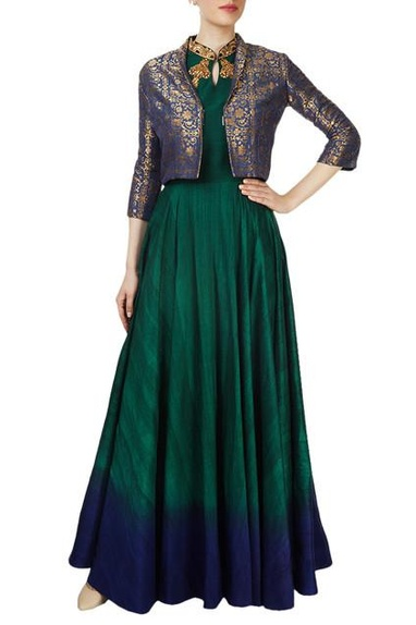 Forest green gown with a blue printed jacket