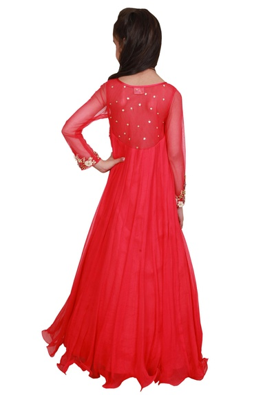 Coral red chiffon embroidered flowy gown