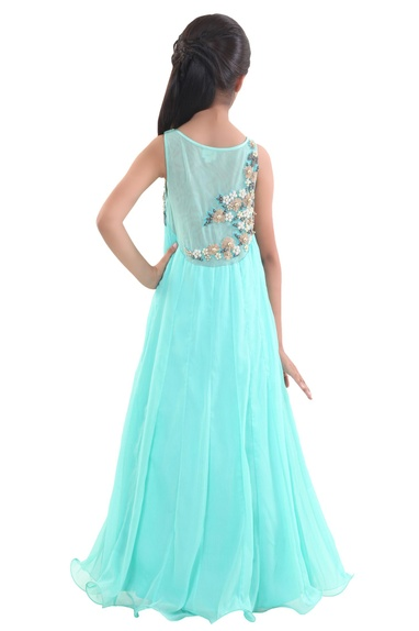 Turquoise chiffon embroidered flowy gown