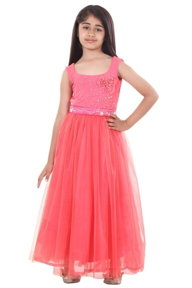 Soft coral stretch yoke embroidered flowy gown