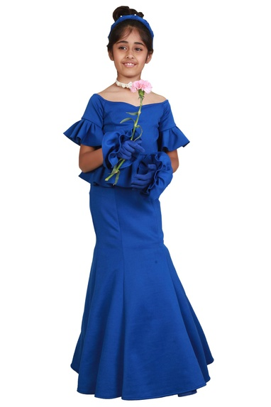 Blue fishcut & peplum floor-length gown