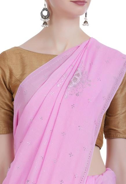 Pure georgette mukaish saree & unstitched blouse