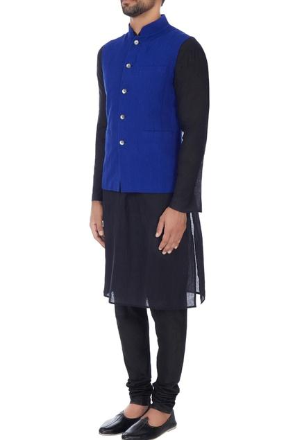 Cobalt blue textured bandhi jacket