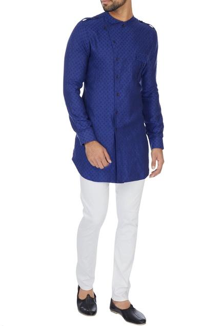 Blue cross-over button down kurta