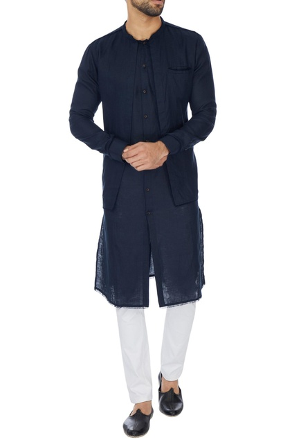 Navy blue double layer linen kurta