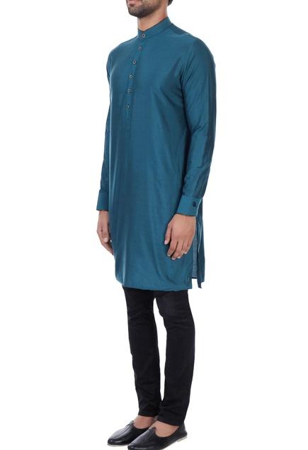 Teal cotton silk classic kurta