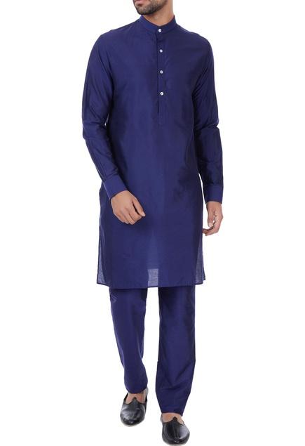Navy blue classic silk kurta