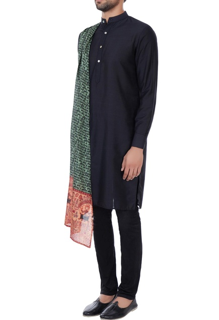 Black kurta with printed draped layer