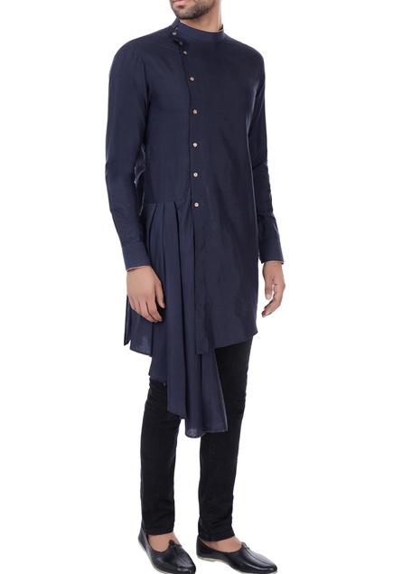 Navy blue draped layer kurta