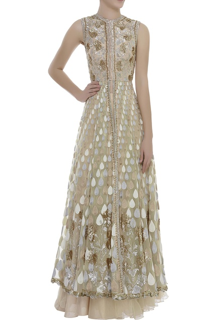 Front Slit Sequin Embroidered Kurta With lehenga