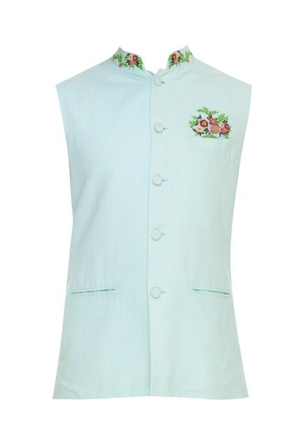 Flower embroidered nehru jacket