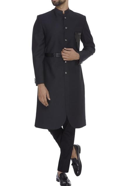 Faux leather sherwani with waistbelt