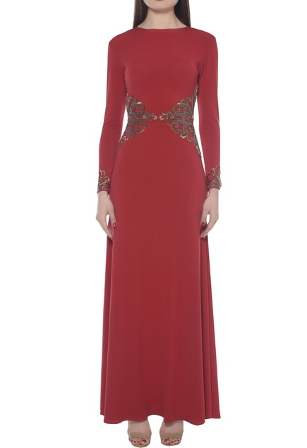 Metallic embroidered gown