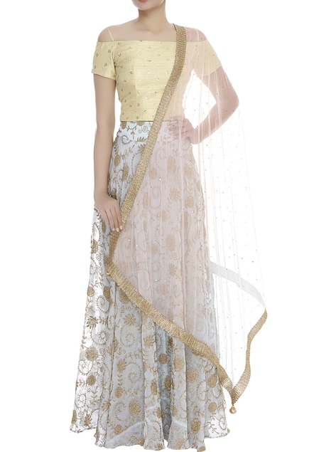 Embroidered Cold Shoulder Blouse With Lehenga