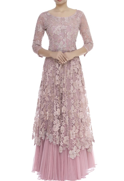 Bead Embellished Floral Cutwork Gown