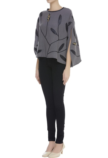 Applique Embroidered Cape Style Top