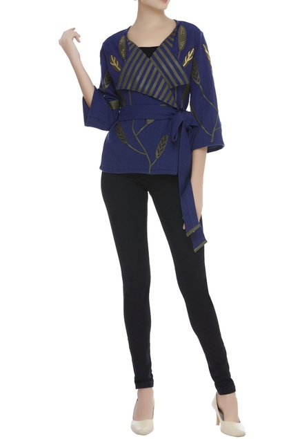 Wrap Applique Embroidered Top