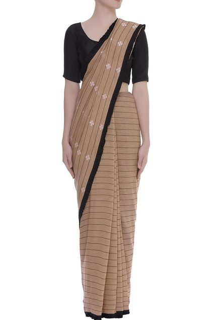 Flower & Stripe motif Woven linen Sari