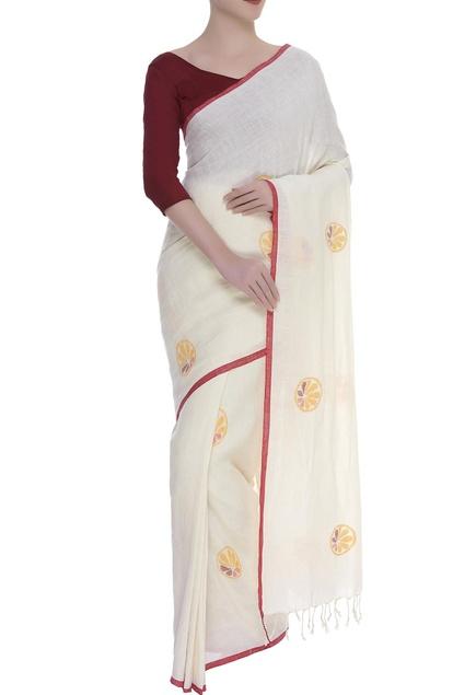 Sliced Orange motif Woven linen Sari