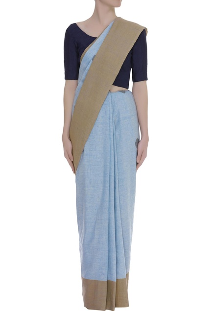 Polka dots linen Woven Sari