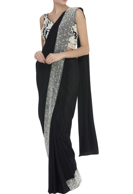 Bead Embroidered Sleeveless Blouse With Saree