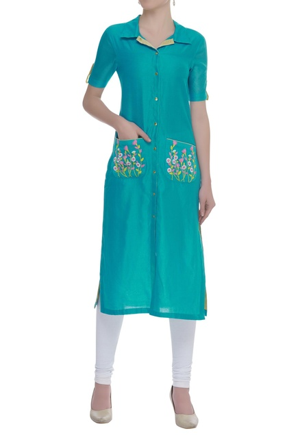 Front pocket embroidered shirt tunic