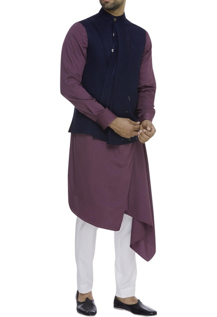Silk Pleated nehru jacket