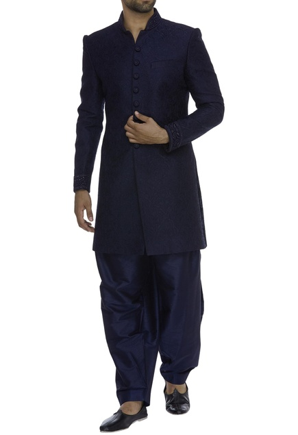 Resham Embroidered Sherwani With Pyjama